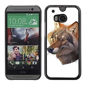 A-type Arte & diseño plástico duro Fundas Cover Cubre Hard Case Cover para All New HTC One (M8) ( Pintura hermosa del lobo )