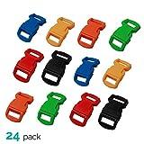 ASR Outdoor (24 Pack) Paracord Bracelet Buckle Set Assorted Colors 15mm .5 Inch