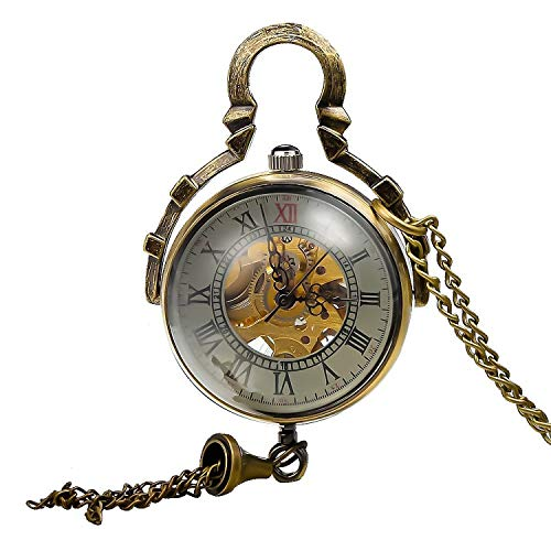 Carrie Hughes Womens Ladies Steampunk Glass Ball Transparent Skeleton Mechanical Pocket Watch with Chain CH199B (CH199B) -