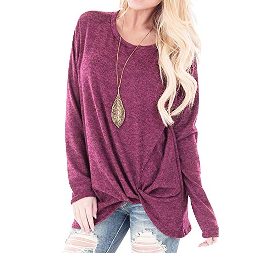 083daffb3ad2 Womens Sexy Off Shoulder Sweater Casual Soft Long Sleeves O Neck Knot Side  Twist Blouse Top
