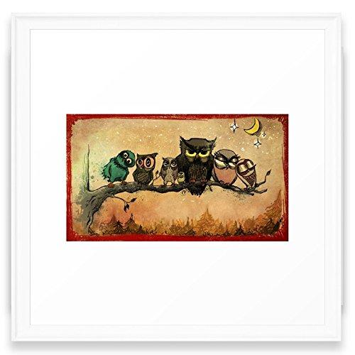 Society6 Midnight Owls Framed Print Scoop White MEDIUM (Gallery)