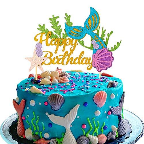SAKOLLA Glitter Mermaid Birthday Cake Topper - Happy Birthday Cake Decoration for Under The Sea Themed Baby Shower Birthday Party Supplies
