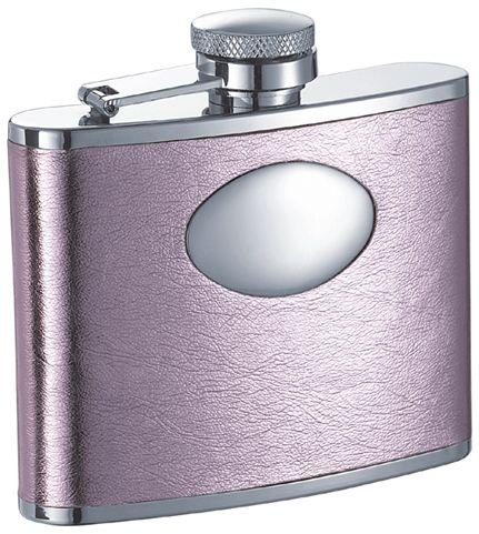 Visol Sweetheart Soft Pink Leatherette Stainless Steel 4oz Hip Flask (Set of 6)