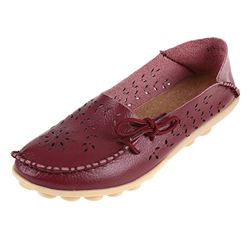 Pinpochyaw Womens Moccasin Leather Loafers Shoes Wild Driving Casual Flats Burgundy1