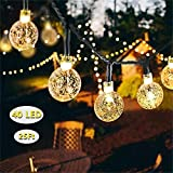 Solar String Lights, DeepDream 40 LED 25Ft Waterproof Indoor Outdoor Festival Lights Crystal Ball Decorative Fairy Lights for Garden Patio Yard Home Wedding Christmas Parties,Warm White