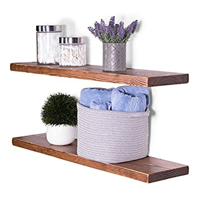 "DAKODA LOVE Floating Shelves Solid Wood 36"" x 8"" Set of 2 Bourbon Weathered Edge 