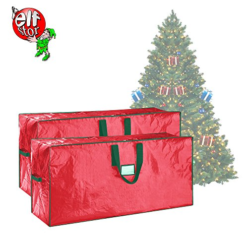 Elf Stor 83-DT5524 Christmas Storage Bags Holiday Large for up to 7.5 Ft Trees | Set of Two | Red by Elf Stor