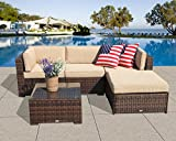 PATIOROMA Outdoor Furniture Sectional Sofa Set (5-Piece Set) All-Weather Brown Wicker with Beige Seat Cushions &Glass Coffee Table| Patio, Backyard, Pool| Steel Frame