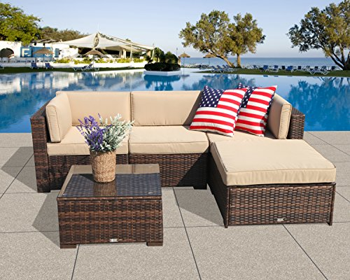 All Weather Wicker 4 Piece - PATIOROMA Outdoor Furniture Sectional Sofa Set (5-Piece Set) All-Weather Brown PE Wicker with Beige Seat Cushions &Glass Coffee Table| Patio, Backyard, Pool| Steel Frame