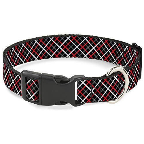 Buckle Down Cat Collar Breakaway Criss Cross Plaid Black Gray Red 8 to 12 Inches 0.5 Inch Wide