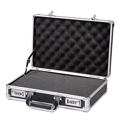 Black Aluminum Hard Case with Foam Insert Small Metal Tool Box with Edge Protection