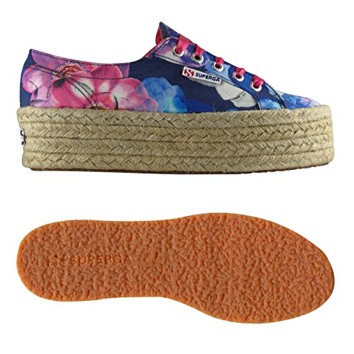 fabricfanplropew Patrón Floral Estampado Fuxia Mujer 2790 Flatform Zapatos Para blu Superga 6gx4nE