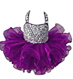 HZCQ Sweet Girls' Crystal Mini Gowns Infant Pageant Cupcake Dress 1 US Purple