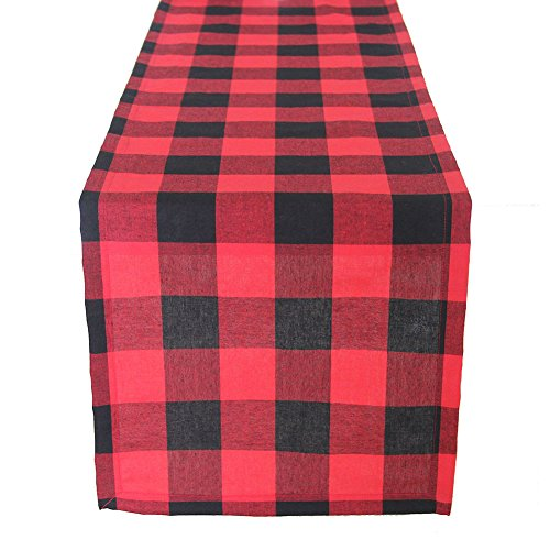 ARKSU Christmas Table Runner Plaid Polyester-Cotton Blend for