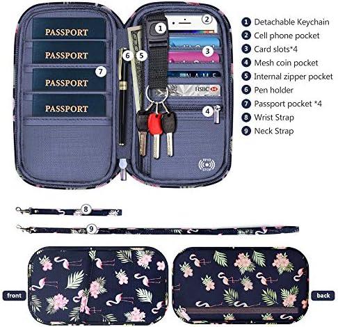 RFID Family Passport Wallet Holder Waterproof, Travel Document Organizer Credit Card Clutch Bag for Men Women