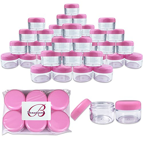 Beauticom 48 Pieces 30 Gram 30 ML  Round Clear Small Jars wi