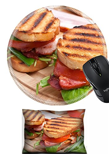 Back Support Blt - MSD Mouse Wrist Rest and Round Mousepad Set, 2pc Wrist Support design: 31593491 Bacon lettuce and tomato BLT sandwiches with fresh ingredients at back