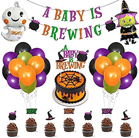 Halloween Baby Shower Decorations Kit Halloween A Baby Is Brewing Banner Witch Pod Hat Cake Topper Cupcake Toppers Ghost Balloons for Halloween Themed Gender Reveal Photo Props Mommy To Be Celebration Pregnancy Announcement Supplies