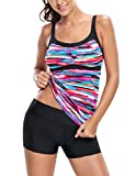 Sidefeel Women Gorgeous Rainbow Print Tankini Swim Top