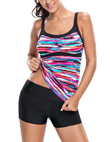 Sidefeel Women Gorgeous Rainbow Print Tankini Swim Top X-Large Multicolor (Rainbow Tankini)