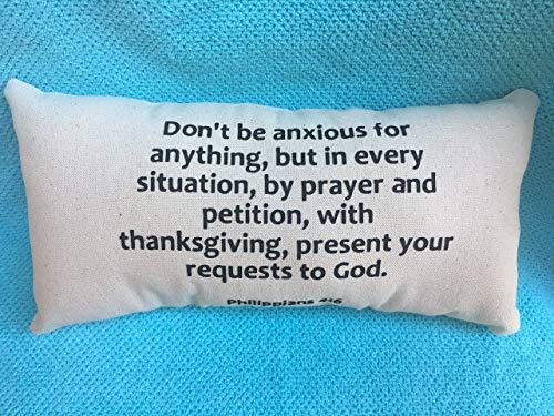 alerie Sassoon Don't Be Anxious Philippians 4:6, Scripture, Bible Christian, Lumbar 16x24 Pillowcase Pillow Cover, Black Canvas Beige, Inspiration, Hope, Plans, Home Decor