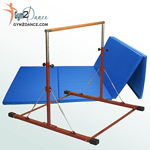 Combo Gymnastics Bar Adjustable 3′ to 5′ Model LE Red, and 8′ X 4′ X 2″ Thick Blue Mat By Gym2dance