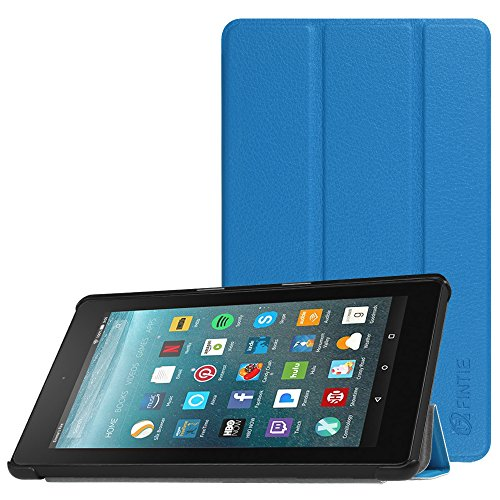 Fintie Slim Case for All-New Amazon Fire 7 Tablet (7th Generation, 2017 Release), Ultra Lightweight Slim Shell Standing Cover with Auto Wake / Sleep, Blue
