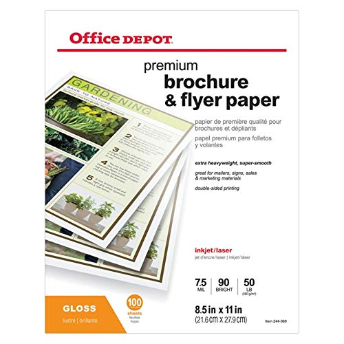 Inkjet Heavyweight Glossy (Office Depot Professional Brochure and Flyer Paper, Glossy, 8 1/2in. x 11in, 50 Lb, Pack of 100 Sheets, 124213)