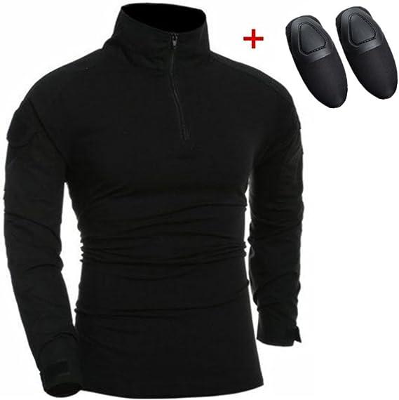 haoYK Camisa táctica de Airsoft de la Manga Larga de Paintball BDU Militar Camisas tácticas de Camo con Las Placas de Codo Negro (S): Amazon.es: Deportes y aire libre