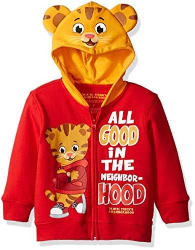 Daniel Tiger's Neighborhood Toddler Boys' Daniel Costume Hoodie, Red, (Tiger Cotton Sweater)