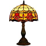 WERFACTORY Tiffany Style Reading Table Beside Lamp Light 18 Inch Tall Tulip Flower Stained Glass Shade E26