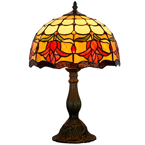 Tiffany Style Reading Table Beside Lamp Light 12 inch Wide Tulip Flower Stained Glass Shade 1 Bulb Desk Antique Zinc Base for Girlfriend Living Room Bedroom S030 WERFACTORY