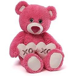Gund Valentine's Gemma Red Teddy Bear Holding 2 Hearts