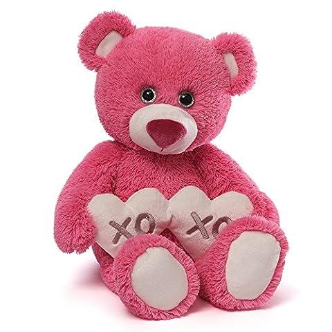 Gund Valentine's Gemma Red Teddy Bear Holding 2 Hearts - Gund White Teddy Bear