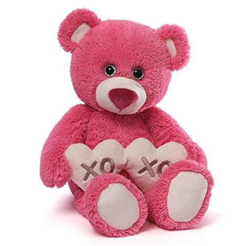 Gund Valentine's Gemma Pink Teddy Bear Holding 2 Hearts