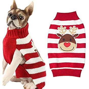 1f6f78067e25 Amazon.com   HAPEE Dog Sweaters for Christmas Santa Pet Cat Clothes ...