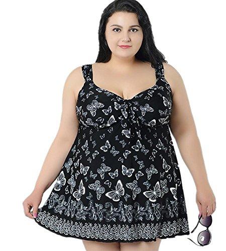 MIAO Traje de baño de una pieza Mujer Número grande Split falda de chaleco de dos piezas con traje de baño de cojín de pecho 5