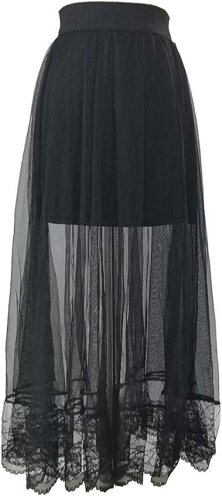 IShang Women's Stretchy Sheer Mesh Lace Long Skirt Chiffon Beach Skirt, Black Lacery, Medium
