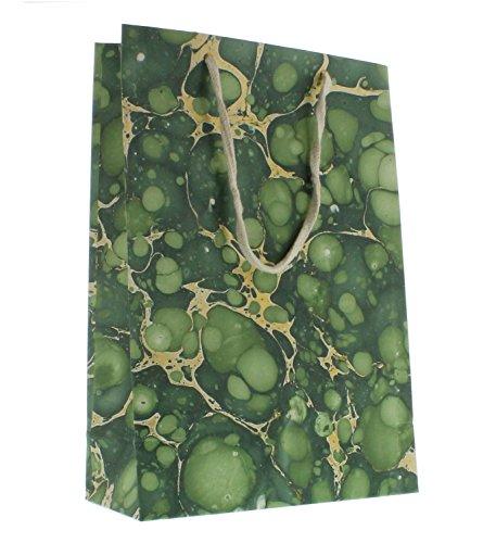 My Swanky Home Malachite Green Marbleized Paper Gift Bag |Large Handles Bulk Set 5