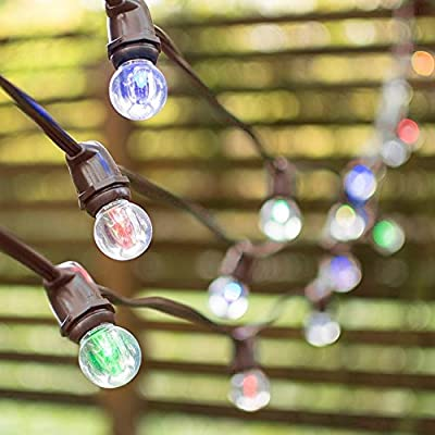 Commercial Grade Globe String Lights, 100 Foot Brown Wire, 1.25 Inch Acrylic LED G30 Globe Bulbs, E17, Home Venue, Wedding, Restaurant Bistro Cafe, Garden, Outdoor, Year Round, (Color Changing LED)