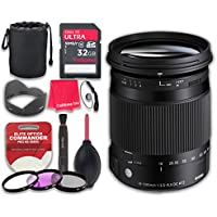 Sigma 18-300mm f/3.5-6.3 DC MACRO OS HSM Contemporary Lens for Canon with 32GB Ultra Pro Speed Class 10 SDHC Memory Card + 3pc Filter Kit (UV-FLD-CPL) + Deluxe Sleeve - International Version
