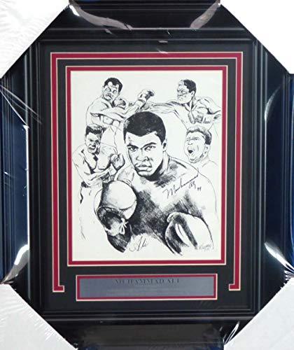 - Muhammad Ali Autographed Framed 8x10 Lithograph Photo
