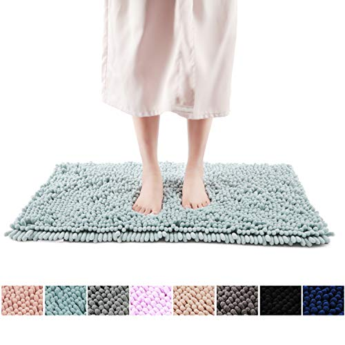 """FRESHMINT Chenille Bath Rugs Extra Soft Fluffy and Absorbent Microfiber Shag Rug, Non-Slip Runner Carpet for Tub Bathroom Shower Mat, Machine-Washable Durable Thick Area Rugs (16.5"""" x 24"""", Blue)"""