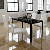 5 Piece Black White Dining Set Glass Table and 4 Artificial Leather Chairs