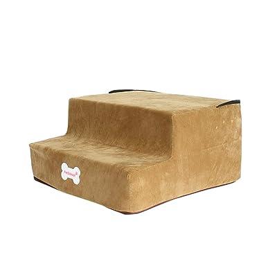 Dacawin-Pet Stairs - 2/3 Steps High-Density Sponge Pet Ladder Removable Washable Microfiber Cover Non-Slip Bottom Ramp for Cat Dog (Khaki, 2-Steps): Toys & Games