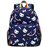 Kemy's Cat School Backpack for Girls Cute Kitty Printed Bookbag 14inch Laptop School Bag for Girls Water Resistant Navy Blue Thanksgiving Day Christmas Gifts