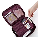 Toiletry Bag, Casety Cosmetic Bag Travel Makeup Carry Case - Wine Red