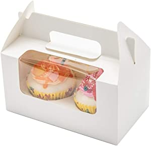 IHOMECOOKER Bakery Cupcake Box White Cupcake Holder with Windows for 2 Cupcakes Handle Cupcake Box for Party (Set of 25)