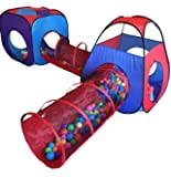 4pc Pop Up Children Play Tent w/ 2 Crawl Tunnel & 2 Tents - Kids Play Tents for Girls & Boys for Indoor & Outdoor Use - Excellent Value Children Playhouse for Boys w/ Zipper Storage Case