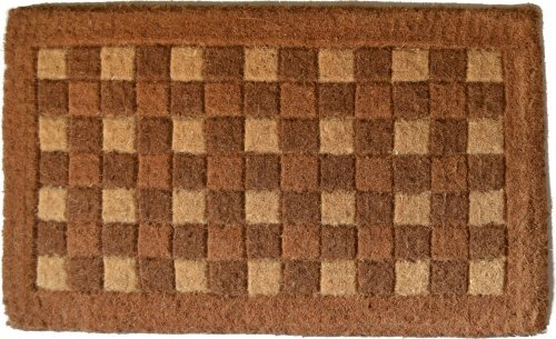 Imports Decor Traditional Coir Doormat, Checkerboard Pattern, 18-Inch by 30-Inch